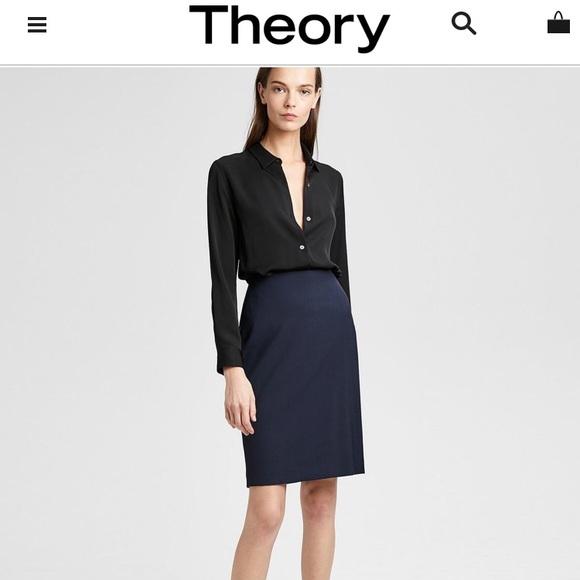 bdfa484c13b Theory Skirts | Nwt Navy Wool Joanie Skirt Size 4 | Poshmark